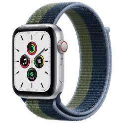 Apple Watch SE GPS Celular 44mm Plata AluMinium Funda Ass AzulMoss Verde Sport Círculo